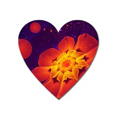 Royal Blue, Red, And Yellow Fractal Gerbera Daisy Heart Magnet by jayaprime
