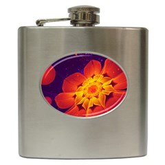 Royal Blue, Red, And Yellow Fractal Gerbera Daisy Hip Flask (6 Oz) by jayaprime