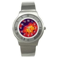 Royal Blue, Red, And Yellow Fractal Gerbera Daisy Stainless Steel Watch by jayaprime