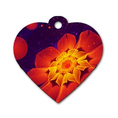 Royal Blue, Red, And Yellow Fractal Gerbera Daisy Dog Tag Heart (two Sides) by jayaprime