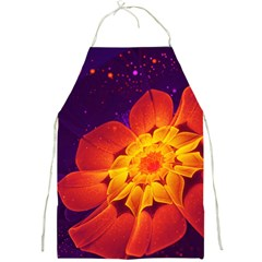 Royal Blue, Red, And Yellow Fractal Gerbera Daisy Full Print Aprons by jayaprime