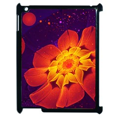 Royal Blue, Red, And Yellow Fractal Gerbera Daisy Apple Ipad 2 Case (black) by jayaprime