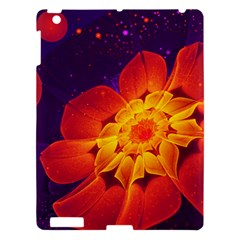 Royal Blue, Red, And Yellow Fractal Gerbera Daisy Apple Ipad 3/4 Hardshell Case by jayaprime