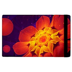 Royal Blue, Red, And Yellow Fractal Gerbera Daisy Apple Ipad 3/4 Flip Case by jayaprime