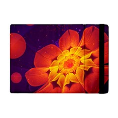 Royal Blue, Red, And Yellow Fractal Gerbera Daisy Apple Ipad Mini Flip Case by jayaprime