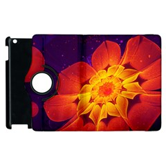 Royal Blue, Red, And Yellow Fractal Gerbera Daisy Apple Ipad 2 Flip 360 Case by jayaprime