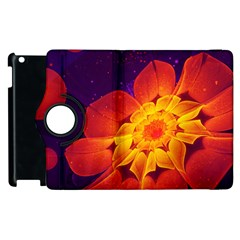 Royal Blue, Red, And Yellow Fractal Gerbera Daisy Apple Ipad 3/4 Flip 360 Case by jayaprime
