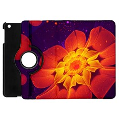 Royal Blue, Red, And Yellow Fractal Gerbera Daisy Apple Ipad Mini Flip 360 Case by jayaprime