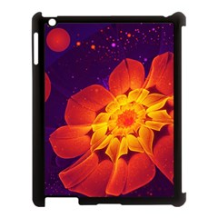 Royal Blue, Red, And Yellow Fractal Gerbera Daisy Apple Ipad 3/4 Case (black) by jayaprime