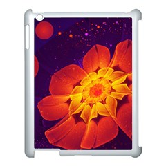 Royal Blue, Red, And Yellow Fractal Gerbera Daisy Apple Ipad 3/4 Case (white) by jayaprime