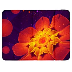 Royal Blue, Red, And Yellow Fractal Gerbera Daisy Samsung Galaxy Tab 7  P1000 Flip Case by jayaprime