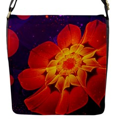 Royal Blue, Red, And Yellow Fractal Gerbera Daisy Flap Messenger Bag (s) by jayaprime