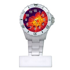 Royal Blue, Red, And Yellow Fractal Gerbera Daisy Plastic Nurses Watch by jayaprime