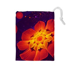 Royal Blue, Red, And Yellow Fractal Gerbera Daisy Drawstring Pouches (large)  by jayaprime