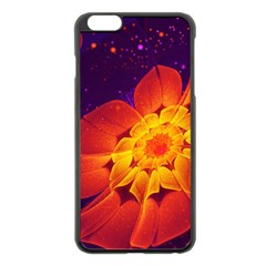 Royal Blue, Red, And Yellow Fractal Gerbera Daisy Apple Iphone 6 Plus/6s Plus Black Enamel Case by jayaprime