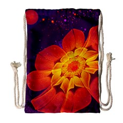 Royal Blue, Red, And Yellow Fractal Gerbera Daisy Drawstring Bag (large) by jayaprime