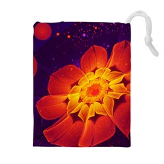 Royal Blue, Red, And Yellow Fractal Gerbera Daisy Drawstring Pouches (extra Large) by jayaprime