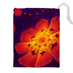 Royal Blue, Red, And Yellow Fractal Gerbera Daisy Drawstring Pouches (xxl) by jayaprime