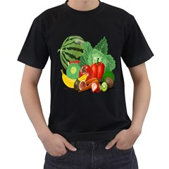 Fruits Vegetables Artichoke Banana Men s T Shirt (black) (two Sided)