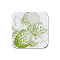Fruits Vintage Food Healthy Retro Rubber Coaster (square)  by Nexatart