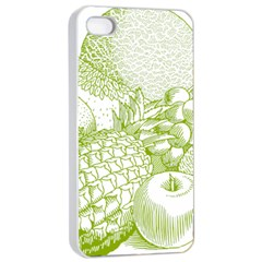 Fruits Vintage Food Healthy Retro Apple Iphone 4/4s Seamless Case (white) by Nexatart