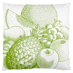 Fruits Vintage Food Healthy Retro Large Cushion Case (one Side) by Nexatart