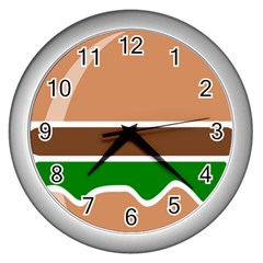 Hamburger Fast Food A Sandwich Wall Clocks (silver)  by Nexatart