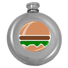 Hamburger Fast Food A Sandwich Round Hip Flask (5 Oz) by Nexatart
