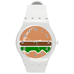 Hamburger Fast Food A Sandwich Round Plastic Sport Watch (m)