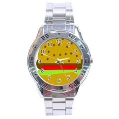 Hamburger Food Fast Food Burger Stainless Steel Analogue Watch by Nexatart
