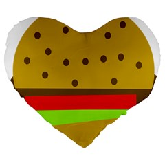 Hamburger Food Fast Food Burger Large 19  Premium Heart Shape Cushions