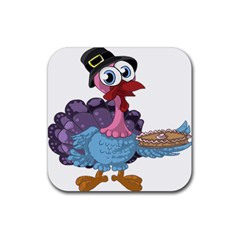 Turkey Animal Pie Tongue Feathers Rubber Coaster (square)  by Nexatart