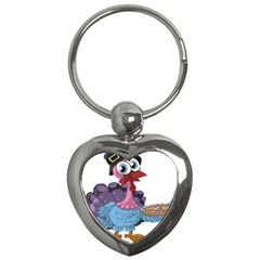 Turkey Animal Pie Tongue Feathers Key Chains (heart)  by Nexatart