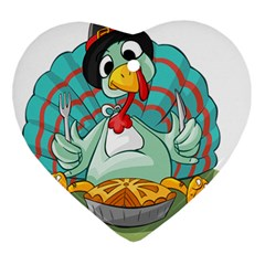 Pie Turkey Eating Fork Knife Hat Ornament (heart) by Nexatart