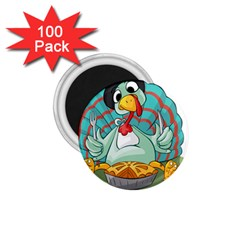 Pie Turkey Eating Fork Knife Hat 1 75  Magnets (100 Pack)  by Nexatart
