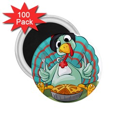 Pie Turkey Eating Fork Knife Hat 2 25  Magnets (100 Pack)  by Nexatart
