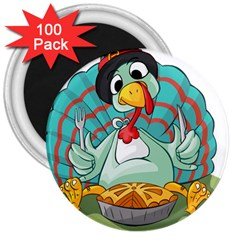 Pie Turkey Eating Fork Knife Hat 3  Magnets (100 Pack) by Nexatart