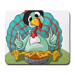 Pie Turkey Eating Fork Knife Hat Large Mousepads by Nexatart