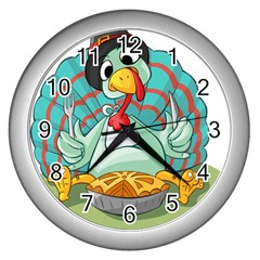 Pie Turkey Eating Fork Knife Hat Wall Clocks (silver)  by Nexatart