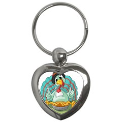Pie Turkey Eating Fork Knife Hat Key Chains (heart)  by Nexatart