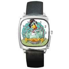 Pie Turkey Eating Fork Knife Hat Square Metal Watch by Nexatart