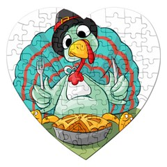 Pie Turkey Eating Fork Knife Hat Jigsaw Puzzle (heart) by Nexatart