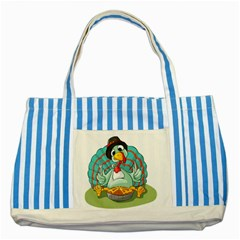 Pie Turkey Eating Fork Knife Hat Striped Blue Tote Bag by Nexatart