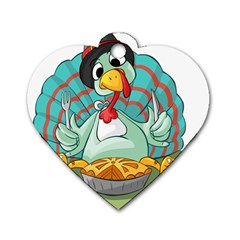 Pie Turkey Eating Fork Knife Hat Dog Tag Heart (one Side) by Nexatart