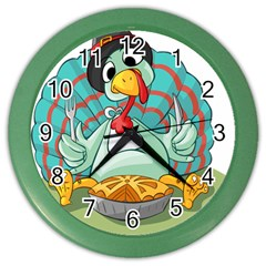Pie Turkey Eating Fork Knife Hat Color Wall Clocks by Nexatart