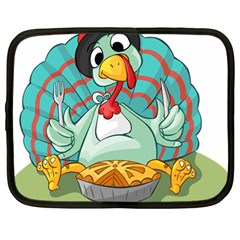 Pie Turkey Eating Fork Knife Hat Netbook Case (large) by Nexatart