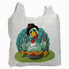 Pie Turkey Eating Fork Knife Hat Recycle Bag (two Side)  by Nexatart