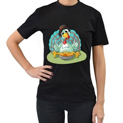 Pie Turkey Eating Fork Knife Hat Women s T Shirt (black) by Nexatart