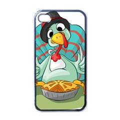 Pie Turkey Eating Fork Knife Hat Apple Iphone 4 Case (black) by Nexatart