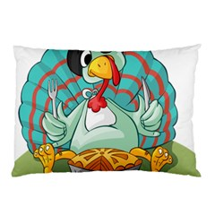Pie Turkey Eating Fork Knife Hat Pillow Case (two Sides) by Nexatart